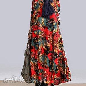 sukienka w kwiaty obłędna, sukienka, len, maxi, kwiaty, oversize, bawełna