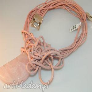 różowy kwarc, różowy, naszyjnik, artystyczny, słowiański