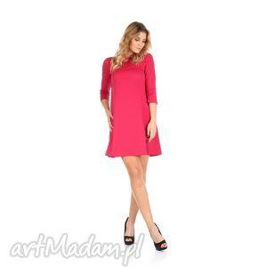 2-sukienka rozkloszowana fuksja,krótka, lalu, sukienka, dzianina,