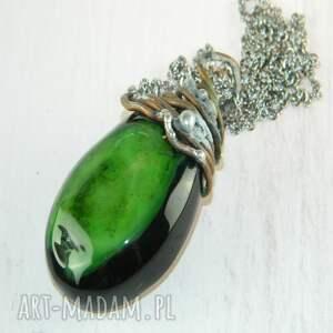 handmade wisiorki wisior z zielonego agatu