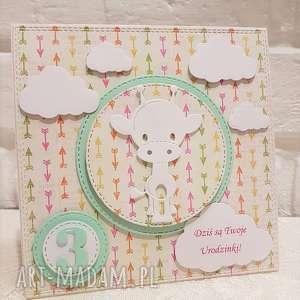 Urocza kartka urodzinowa, kartka, dziecko, żyrafa, urodziny, dziewczynka, chłopiec