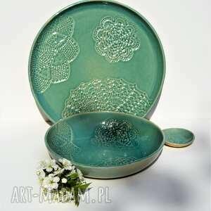 Zestaw ceramiczny xxl z koronką - duży talerz taca plus duża