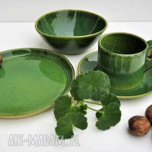 ceramika tyka zestaw ceramiczny talerz, miska plus filiżanka ze spodkiem