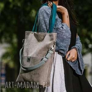Duża szara zamszowa torba turkusowe miętowe paski torebki bags