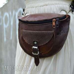 skórzana nerka odcienie brązu od ręki, modna na pas, leather nerka