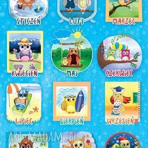 puzzle magnetyczne miesiące piękne ilustracje, magnesy, puzzle, sowy