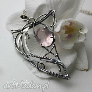 Pan Różowy, srebro, kwarc, wirewrapping, oksydowany