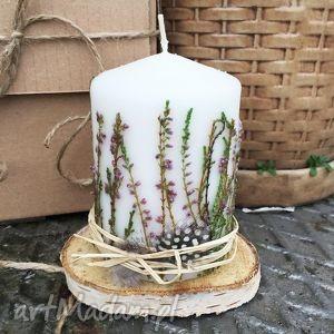oryginalny prezent, zapetlona nitka wrzosowa świeca, świeczka, wrzosqsuszone