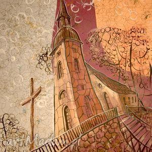 Kościół Księginice Mały, kościół, wydruk, grafika, 4mara