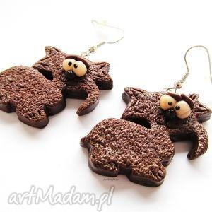 KOLCZYKI - czekoladowe kotki, kolczyki, modelina, masa, fimo, koty, kot
