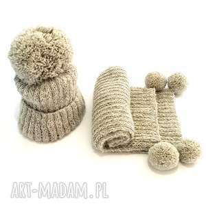 handmade wełniany komplet dziecięcy czapka szalik (alpaka)