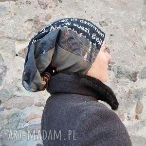 czapki czapka damska długa smerfetka etno boho folk codzinna na podszewce