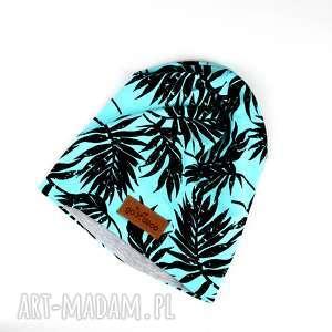 czapka palmy kolorowa - czapka, beanie, ciepła, palmy, kolorowa, prezent