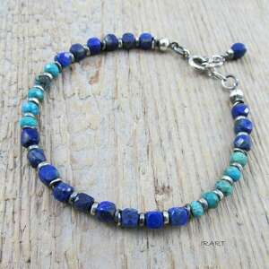 turkus z lapis lazuli -bransoletka, turkus, lazuli, srebro