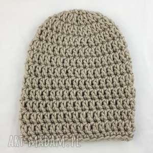 czapki ręcznie robiona czapka beżowa 1 hand made, czapka, czapki, rękodzieło