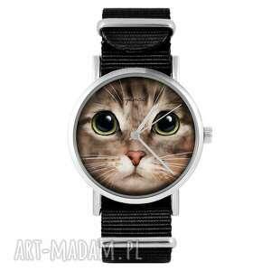 ręcznie robione zegarki zegarek yenoo - kot tygrysek czarny, nylonowy