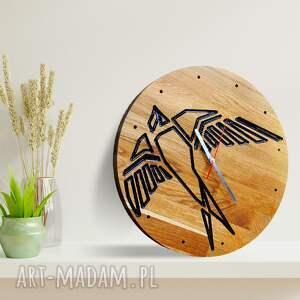 zegar ścienny z drewna dębowego, żywica, ptak, ścienny, drewno żywica