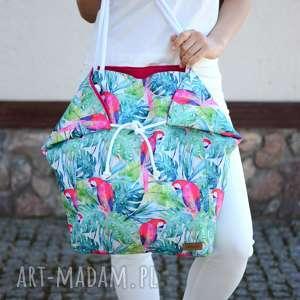 Duża torba na ramię i plażę w papugi kolorowa ekoszale ramię