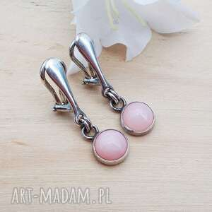 klipsy różowe opale okrągło - klipsy, srebrna biżueria, srebrne