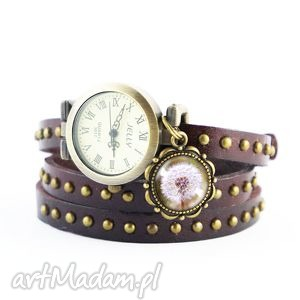 Bransoletka, zegarek - dmuchawiec brązowy, nity, skórzany