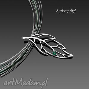 wiosenny liść srebrny styl ażurowy, obroża, oksydowany