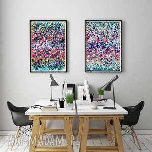 Zestaw 2 prac 30x40cm, plakat, plakaty, grafika, obraz, rysunek, abstrakcja