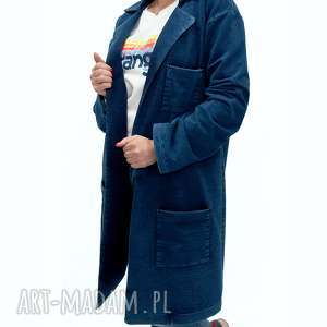 handmade płaszcze bien fashion granatowy kardigan damski z przecieranej dzianiny dresowej denim