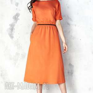 ręcznie robione sukienki pomarańczowa sukienka