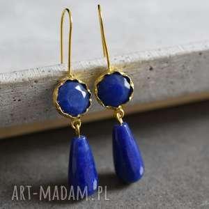 lapis lazuli pozłacane kolczyki - kamień, półszlacetny, naturalna