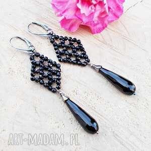 elegancja czerni - kolczyki, srebrne srebrna biżuteria, elegancka