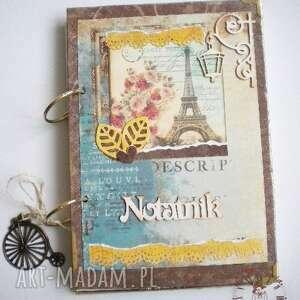 Notatnik/pamiętnik zapiski z podróży, paryski, notatnik, wieża, eiffla, rower