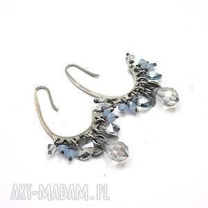 gołębie grona - kolczyki, srebro, oksydowane, swarovski, gronka