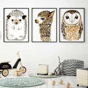 zestaw 3 plakatów a4 - jeż sowa lama, plakat, wydruk, jeż, sowa, alpaka