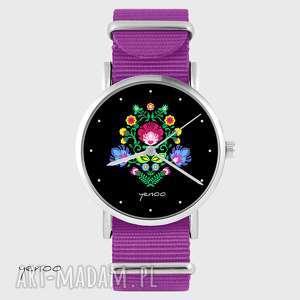 zegarek - folkowy, czarny amarant, nato, zegarek, bransoletka, nylonowy