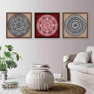 Zestaw 3 prac 50x50cm, mandala, plakat, grafika, obraz, ilustracja