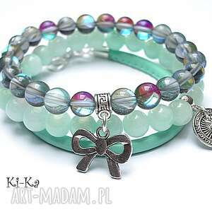 BLUE, MINT AND GREY SET - ,jadeity,kwarc,mystic,skóra,rzemień,