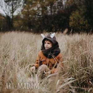 komin z kapturem dla dziecka - jelonek, jeleń, las, zwierzę, jesień