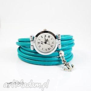 Yenoo: zegarek, bransoletka - turkusowy - kotwica, rzemienie marynarski, prezent