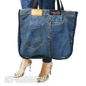 handmade na ramię duża torba upcykling jeans ben stone zapinana zamek 56