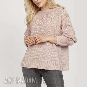 sweter z guzikami - swe218 pastelowy róż mkm, do pracy, szkoły, luźny