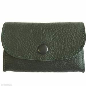 Portmonetka skórzana mini ciemnozielona portfele tenaro skórzana