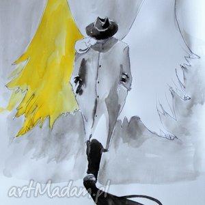 praca akwarelami i piórkiem anioł w kapeluszu, rysunek, akwarela, anioł, akwarele