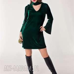 Welurowa, trapezowa sukienka z chokerem od 34 do 46 , welurowa, trapezowa, choker