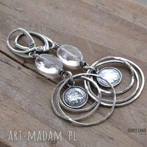 Koła, kryształ górski i moneta, srebro, kryształ, górski, wiszące, koła