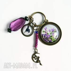 breloki breloczek - fioletowy kwiat, koń, duży, breloczek, do kluczy, koń