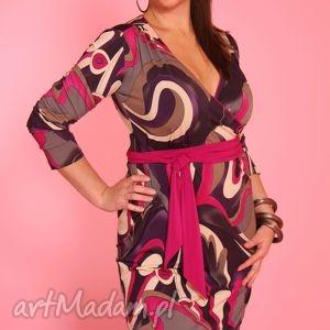 kopertowa sukienka z szarfą, wzorzysta, kopertowa, szarfa, wzory, kobieca, sukienka
