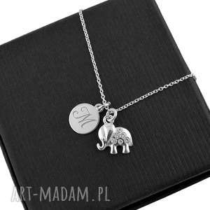 srebrny naszyjnik słonik z literką pudełko - srebrny, naszyjnik, słonik