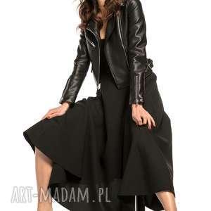 spódnica midi, t260, czarny, spódnica, zamek, ozdobny, tkanina