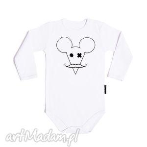 białe body dla dzieci i niemowląt z długim rękawem - mysz, myszka, wąsy