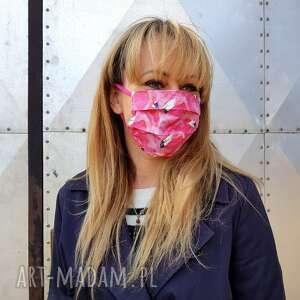wesoła maseczka do twarzy kobieca damska flamingi bawełna kosmetyczna maska